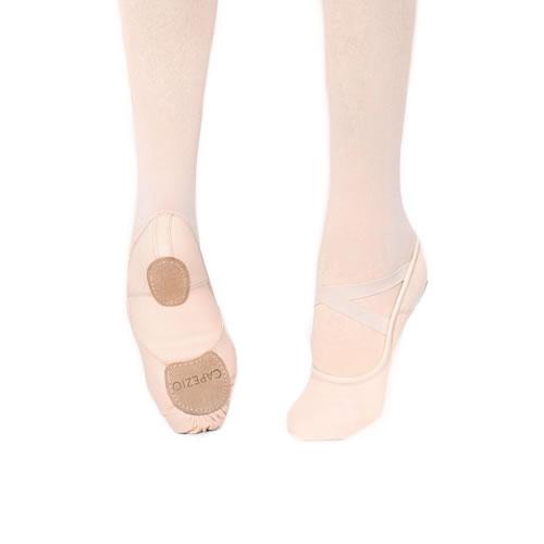 Capezio Hanami Pink Canvas Split Sole Ballet Slippers w Crisscross Elastic Straps
